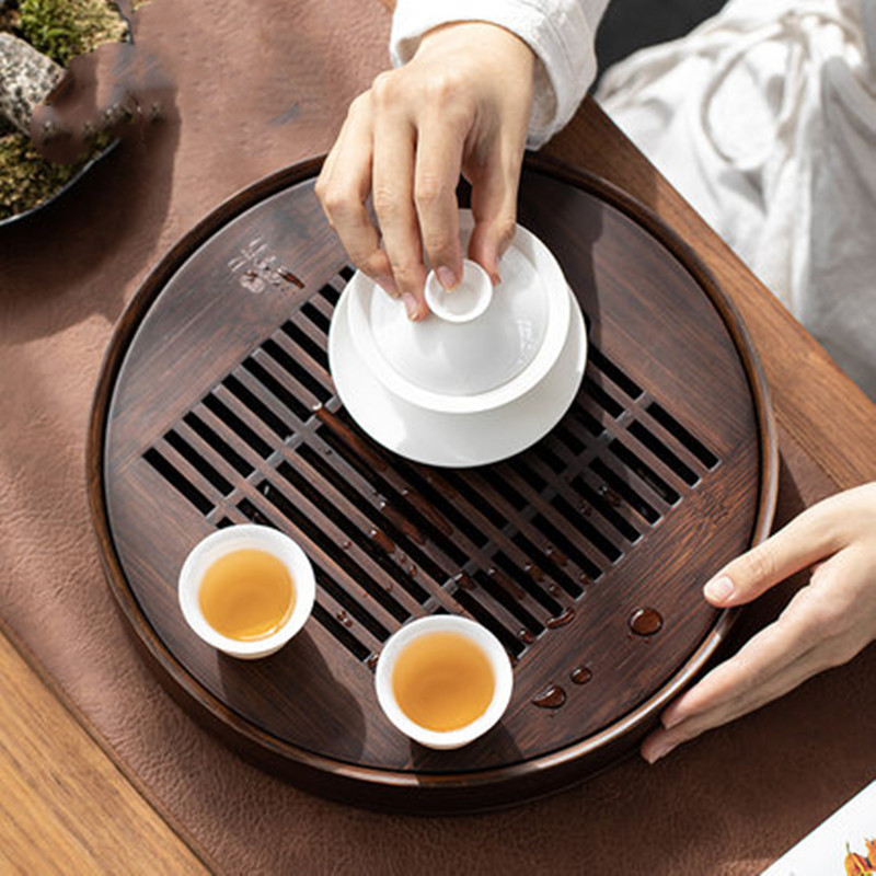 2000ml doğal ahşap bambu çay tepsisi çay kurulu çin çay seti dikdörtgen tepsi yuvarlak su depolama tepsisi çay araçları