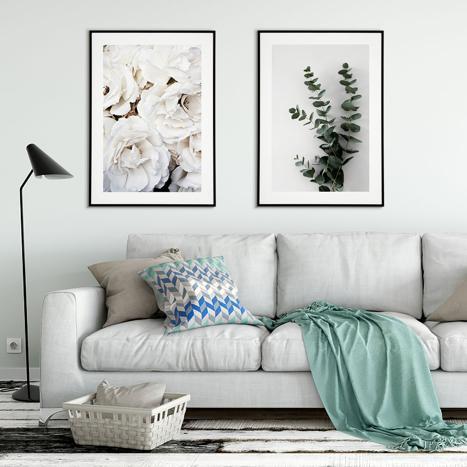 White Roses Posters Prints Eucalyptus Branch Poster Nordic Wall Art Flowers Canvas Painting Modern Wall Pictures For Living Room