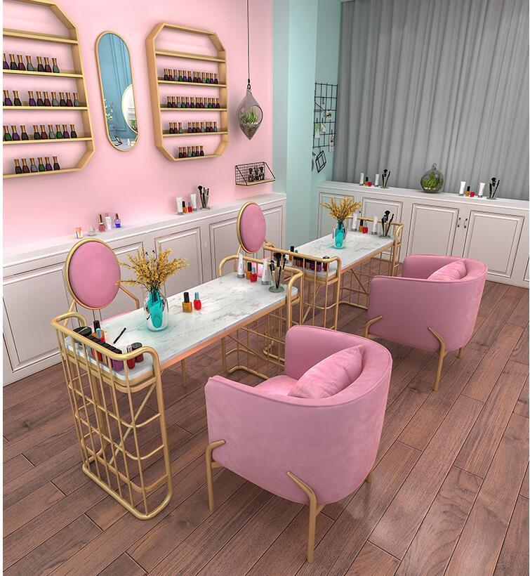 Скандинавский мраморный столик для ногтей магазин украшения стол и стул набор одиночных двойных людей Маникюрный Стол простой и модер