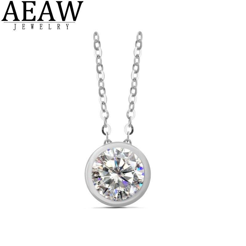 1.0CT 6.5MM rond Moissanite pendentif D VVS Moissanite mariage pendentif collier pour femmes solide 18k or blanc