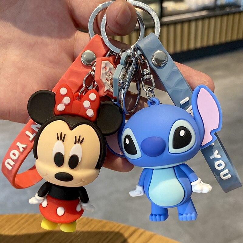 Disney Mickey souris point Figure porte-clés anneau PVC dessin animé Animal Anime Minnie figurine modèle cadeau fille enfants enfants jouets