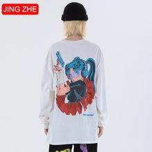 Женские футболки jing zhe осенний пуловер с длинным рукавом