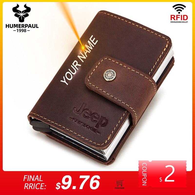 Rfid мужские кожаные держатели для кредитных карт, чехол для визитных карточек, мужской кошелек для монет, автоматическая блокировка, алюминиевый банк, кошельки для карт 2020|Держатели для карт и пропусков|   | АлиЭкспресс