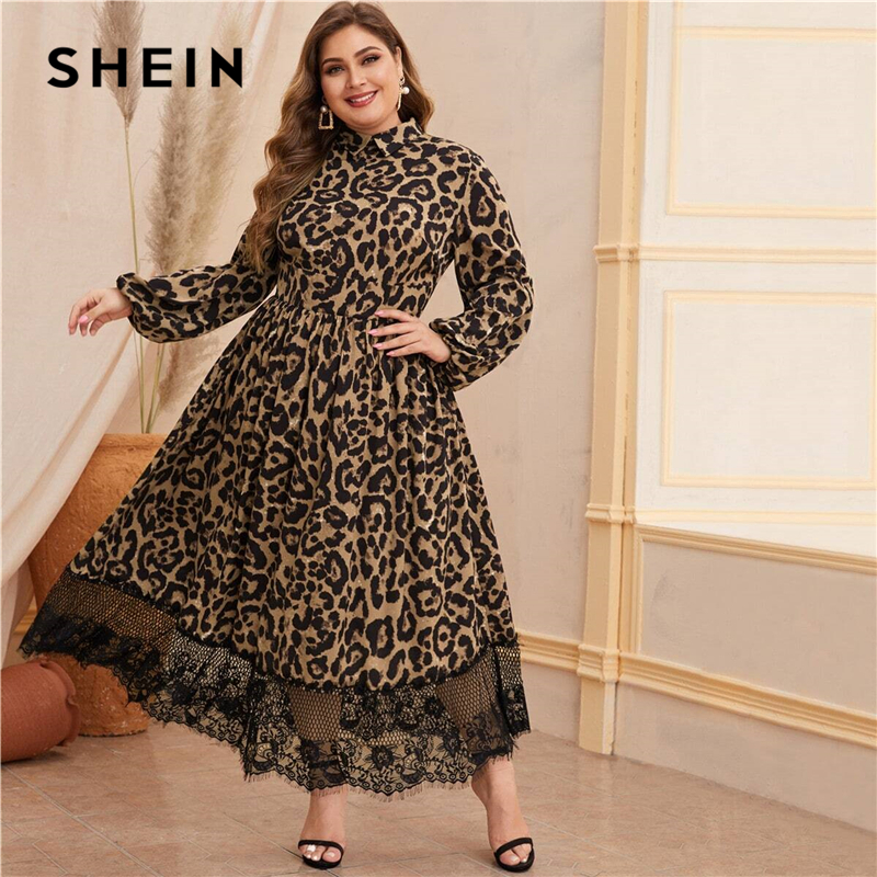 SHEIN Plus Size Zipper Back Lantern Sleeve Lace Hem Leopard Print Dress Women High Waist Fit And Flare Glamorous Maxi Dresses