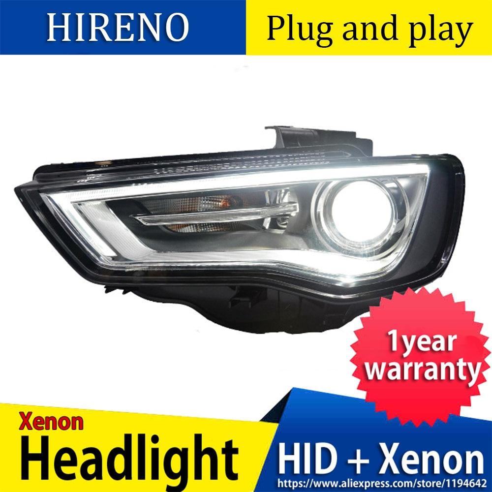 Style de voiture style de voiture pour AUDI A3 phares 2014 2016 pour A3 lampe frontale led DRL avant bi xénon lentille Double faisceau HID KIT - 2