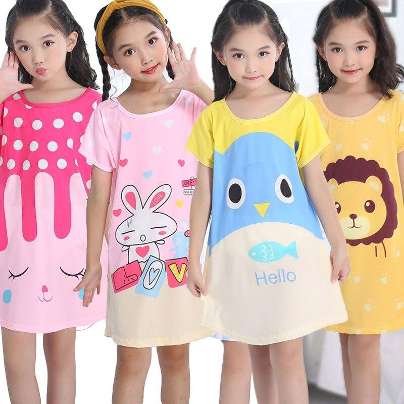 Летняя ночная рубашка для девочек, мультяшная Пижама, платье для детей, ночная рубашка для подростков 3-10 лет, Детская ночная рубашка