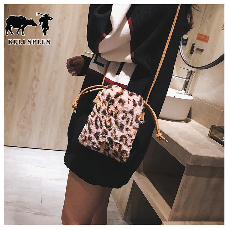 Hairbag Autumn Winter Korean Version Of The Trend Leopard Print Plush Women's Bag Fashion One-shoulder Slanted Mobile Phone Bag