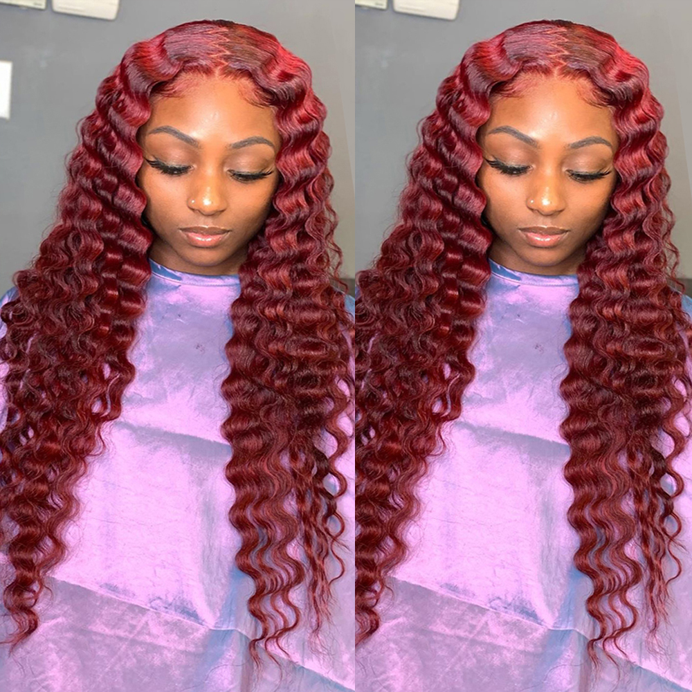 360 Red Curly Lace Front  Human Hair Wigs For Black Women 180% Density Long Natural Hair Body Length Soft 99J Wig Baby Hair