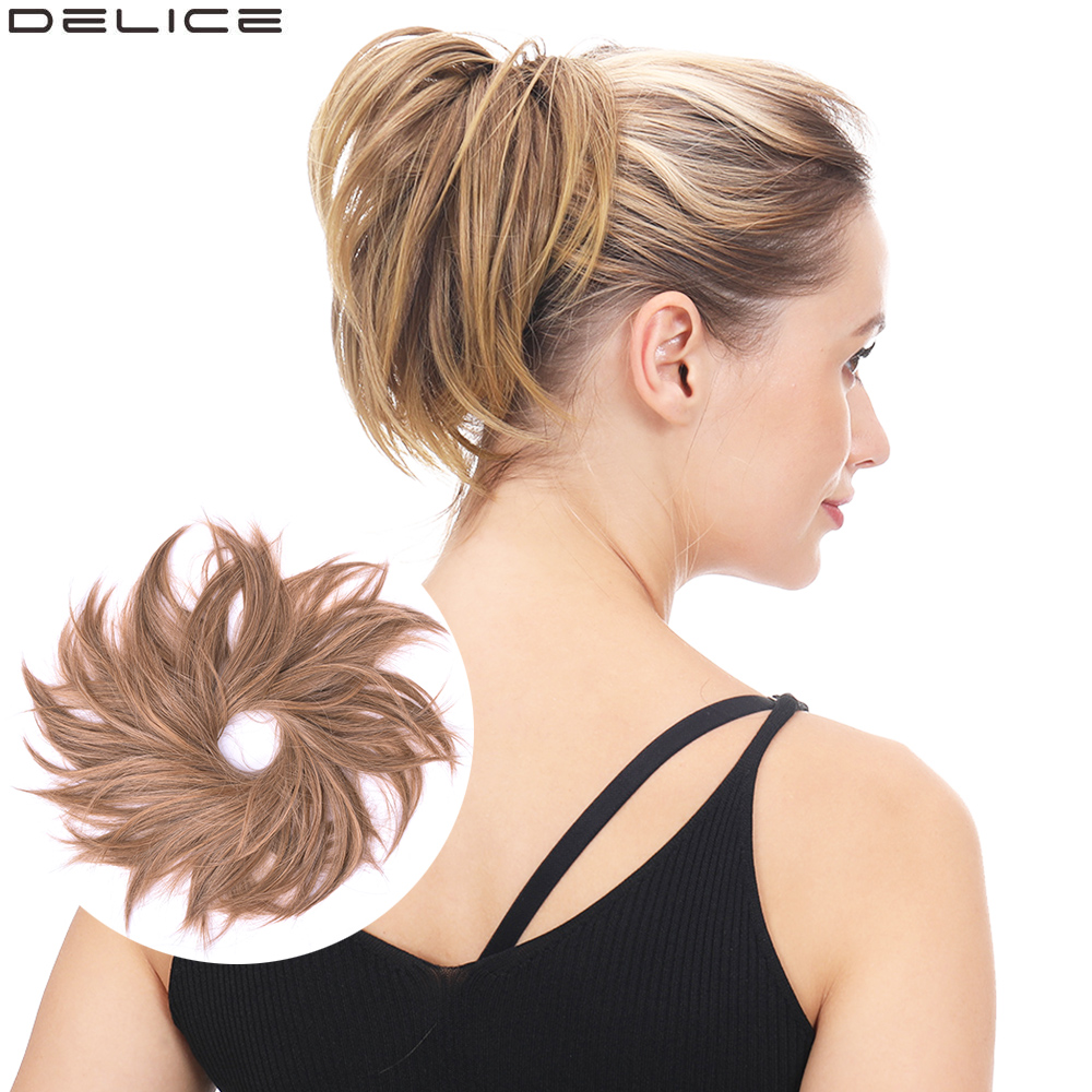 Delice Rubber Band Straight Big Hair Scrunchie Elastic Donut Chignon Synthetic Hair Buns For Women/Girls