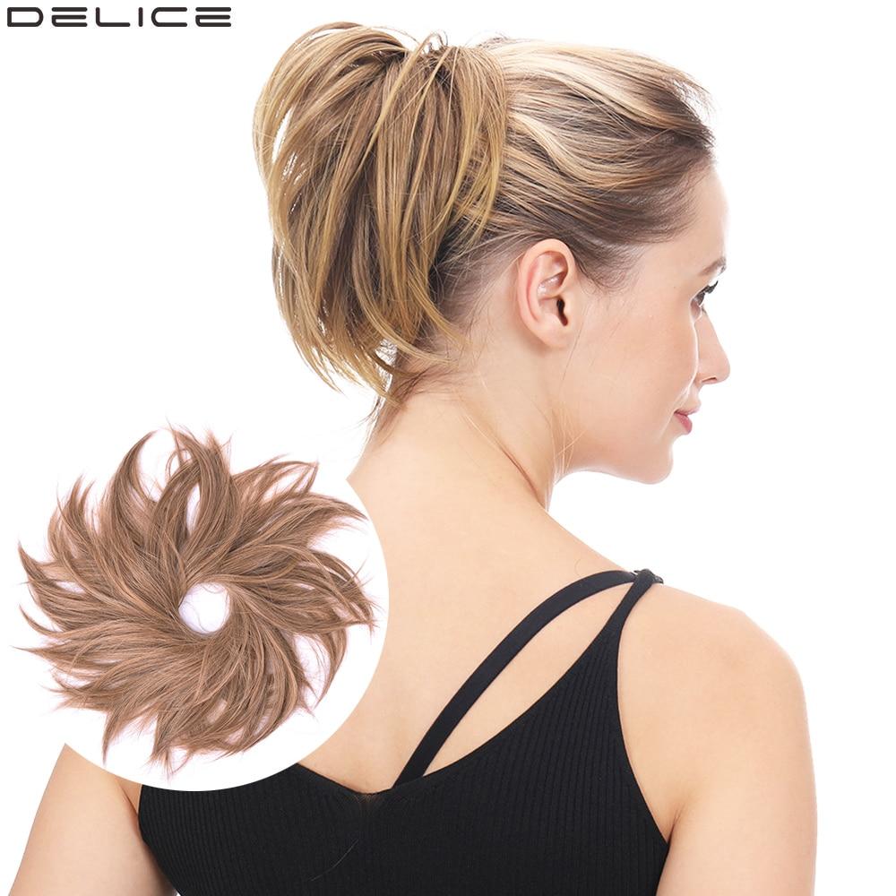 Delice Резиновая лента прямые большие волосы резинка для волос эластичный пончик-шиньон синтетические волосы булочки для женщин/девушек