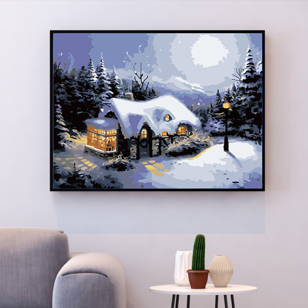 HUACAN Painting By Numbers Snow House Landscape Kits Oil Pictures By Numbers Scenery Home Decor Drawing Canvas HandPainted DIY in Paint By Number from Home Garden