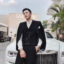 Banquet Full Dress Male Self-cultivation Man's Suit Three-piece Groom Marry Full Dress Tv Station Wedding Host Clothing Tuxedo