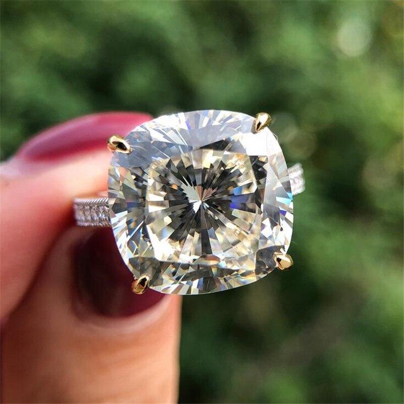 Choucong 100% réel 925 en argent Sterling anneaux pour femmes hommes coussin coupe 8ct Sona Diamon cz fiançailles bague de mariage bijoux