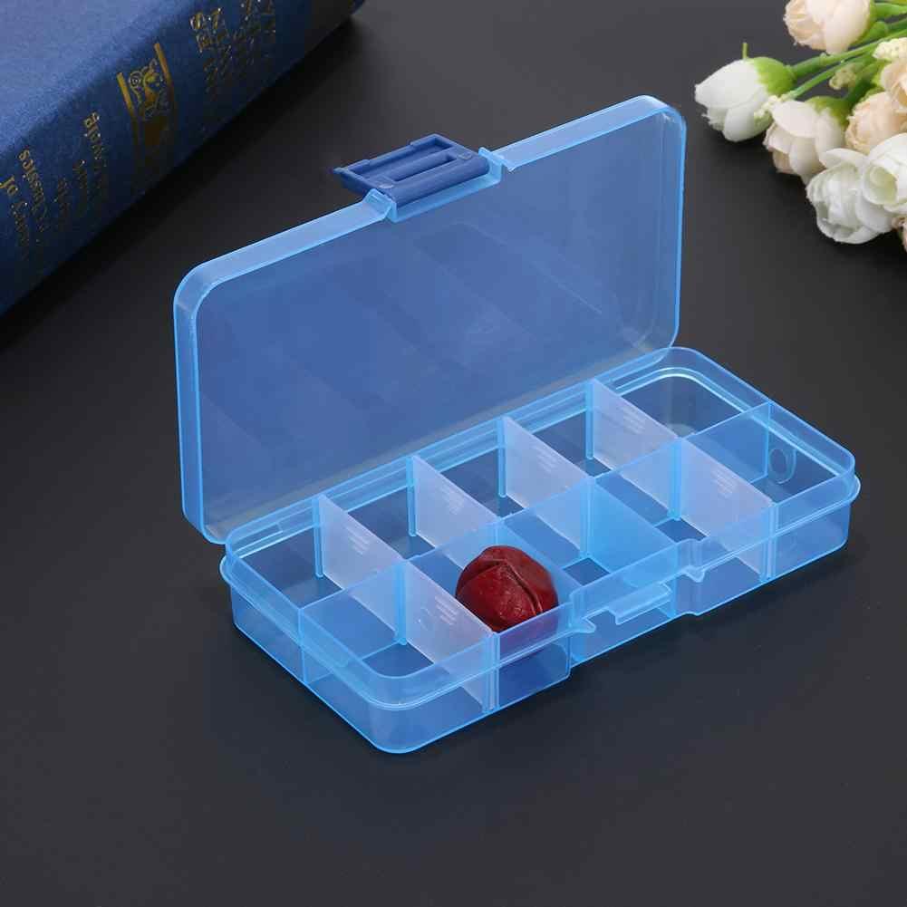 10 구획 투명한 환약 상자 휴대용 여행 약 상자 정제 저장 보석 환약 상자 조직자 케이스 pillendoos