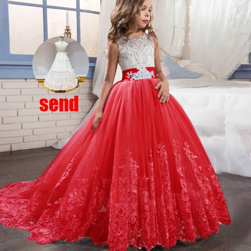 Платье с цветочным узором для девочек на свадьбу; вечерние платья; vestidos de primera comunion; платье для первого причастия; Пышное Бальное платье для детей; цвет белый - Цвет: red
