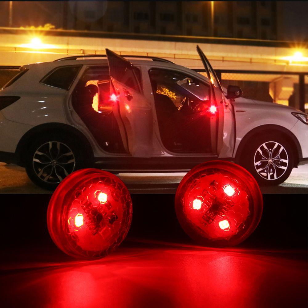 2pcs Red Kit Wireless Anti-collid Signal Light General Car Door LED Opening Warning Lamp Safely Flash Light