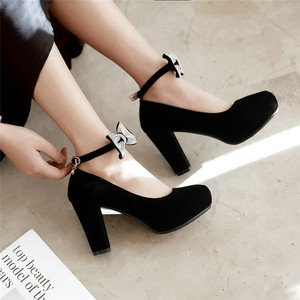 Image 5 - Rimocy/женские туфли лодочки с бантом, украшенные кристаллами, на очень высоком квадратном каблуке, вечерние свадебные туфли с ремешком на щиколотке, женская обувь из флока, большие размеры 45, 2019