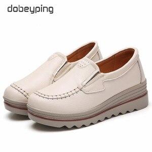 Image 5 - Tênis plataforma casuais femininos, sapatos baixos, loafers para mulheres, couro genuíno