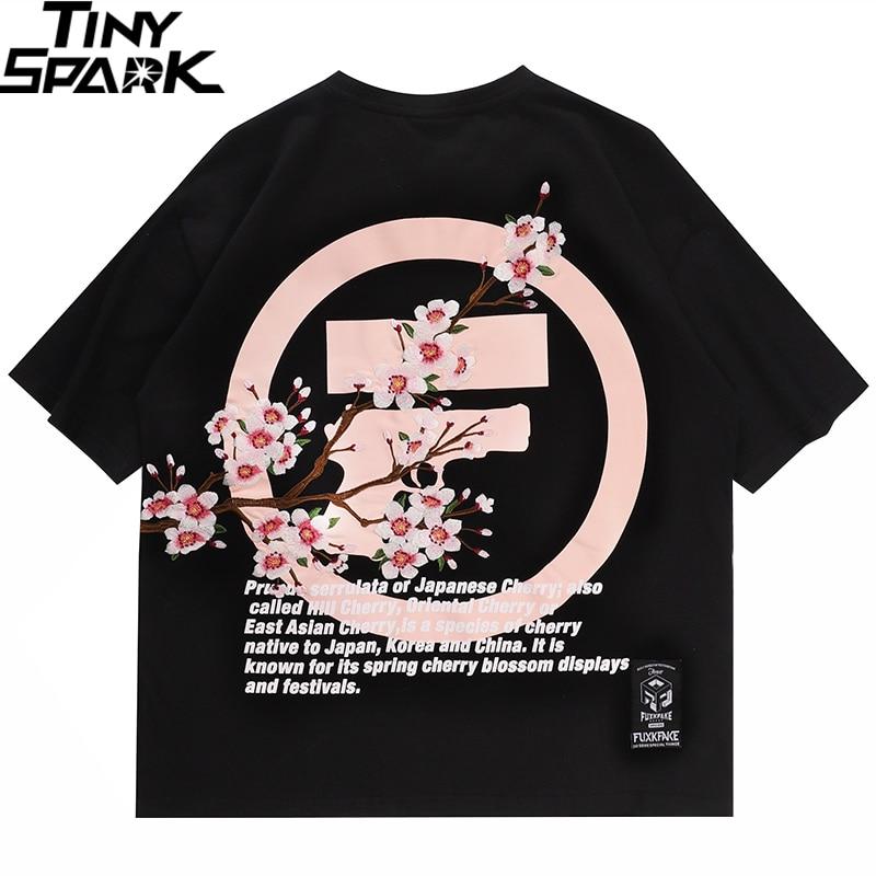 Loose Hip Hop T Shirt Men 2020 Streetwear Japanese Sakura Tshirt Short Sleeve Cotton Harajuku T-Shirt Oversize Japan Style Tees