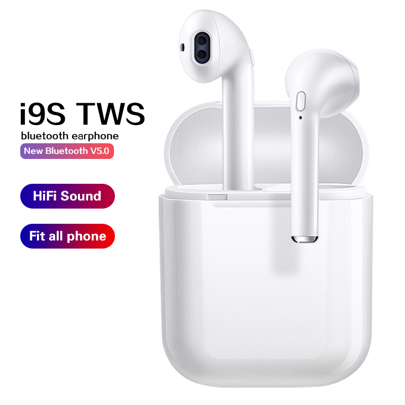 i9s / i12 TWS 5.0 Bluetooth Earphones Wireless Headphones Stereo Sports Earbuds Headset with Charging Box Mic For Smart Phone image