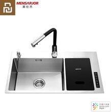 Youpin MENSARJOR ห้องครัวอ่างล้างจานอัตโนมัติน้ำระบายน้ำ Ultrasonic WAVE Timed ซักผ้า Mijia APP SmartControl