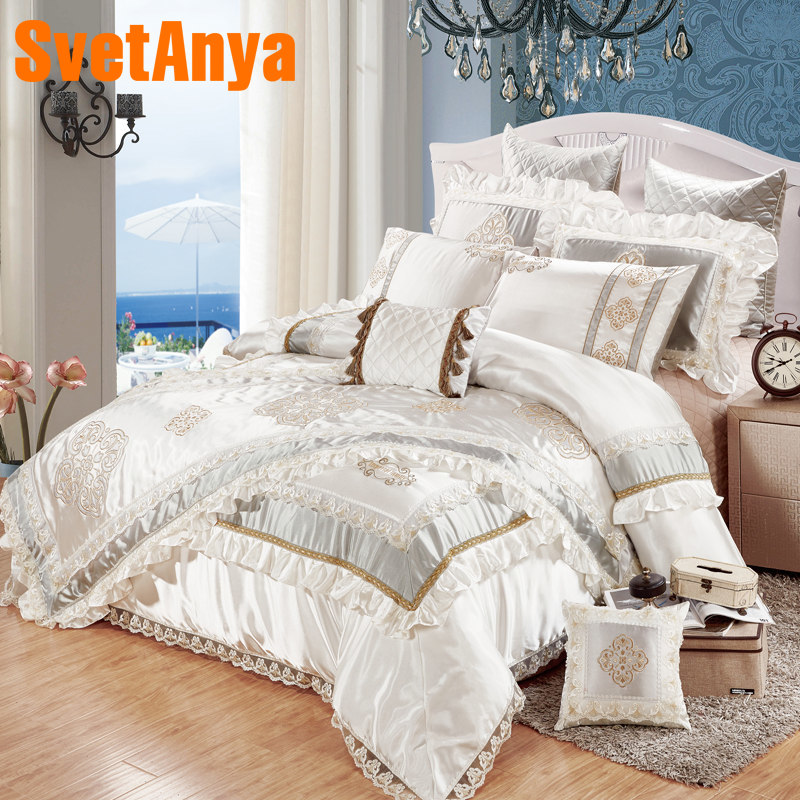 Silver Luxury European Style 11pcs Bedding Bedspread Linens Embroidered Silk/cotton Fabric King Size Duvet Cover Set Bed Flag