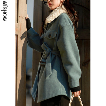 MISHOW 2020 Winter Wool Coats For Women Long Sleeve Slim Outwear Overcoats Casual Belt Outdoor Warm Female Jackets MX20D9747 new fashion women female korean short type long sleeve slim motor zipper leather jackets coats