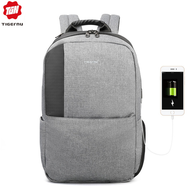 Tigernu Unique technique multifunction schoolbag for teenage USB 15.6 Laptop Anti theft Fashion Business Men backpack