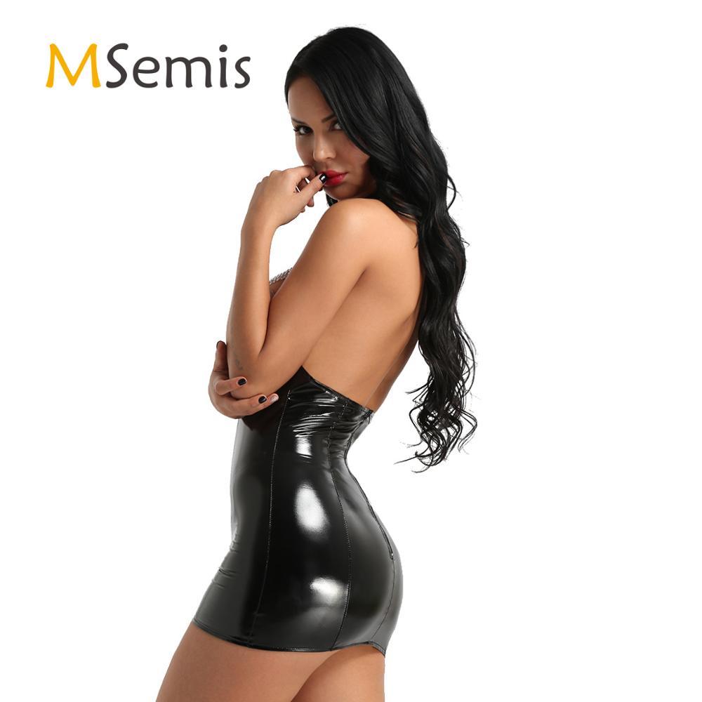 Women's Latex Dress Bodysuit Wet Look Leather Lingerie Open Cup Dress Halter Neck Tassels Sleeveless Bodycon Mini Dress Clubwear