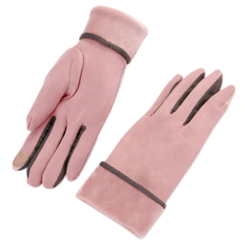 Female Models Fall And Winter Plus Thick Suede Suede Introversion Press Gloves