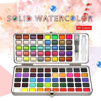 SeamiArt 72/90Color Solid Watercolor Set Basic Neone Glitter Watercolor Paint for Drawing Art Paint Supplies