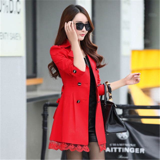 Autumn Women Double Breasted Mid-long Jacket Coat Vintage Lace Turn-down Windbreaker Jacket Female Slim Belt Overcoat Outerwear