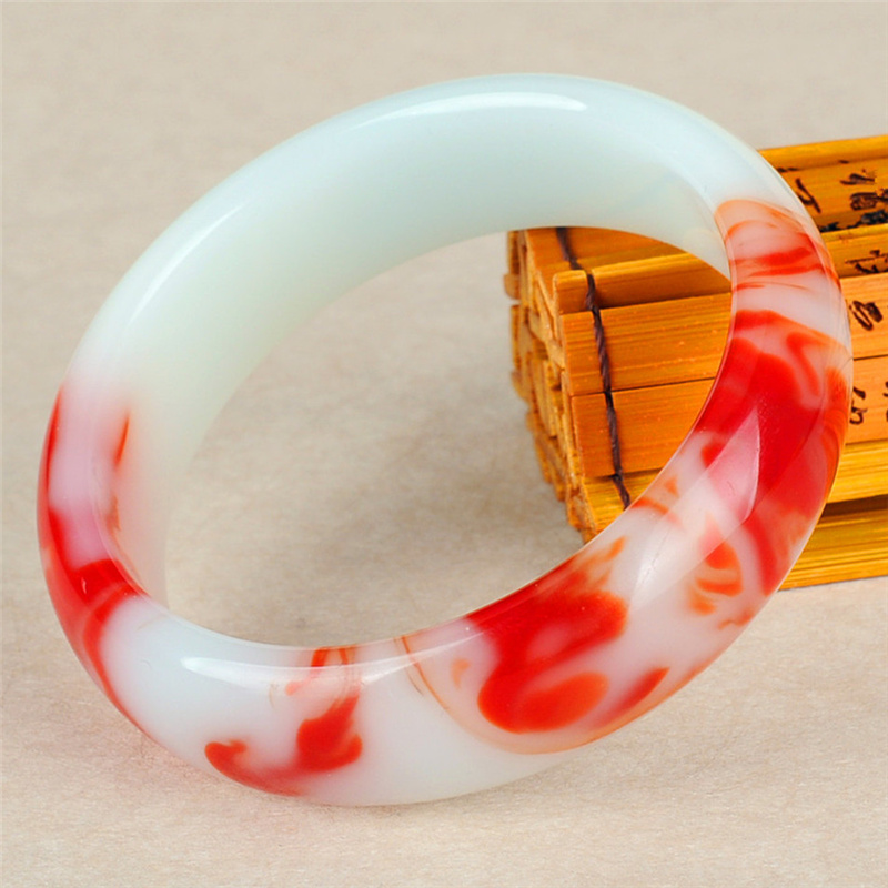 Genuine Natural Color Jade Bangle Red White Bracelet Charm Jewellery Fashion Accessories Carved Amulet Gifts For Women Her Men