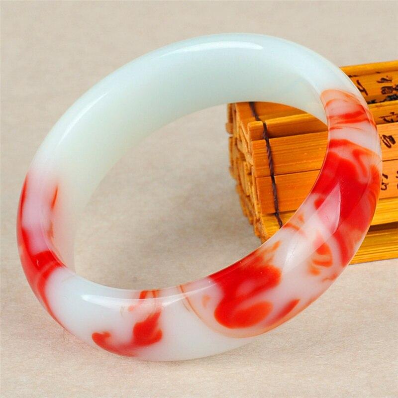 Genuine natural cor jade pulseira vermelho branco pulseira charme jóias acessórios de moda esculpida amuleto presentes para mulher seus homens