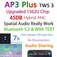 Nieuwe AP3 Plus 45DB Anc Tws Air3 Bluetooth 5.2 Koptelefoon Actieve Noise Annuleren Tws Draadloze Oordopjes Hd Mic 1562U Chip ruimtelijke Audio