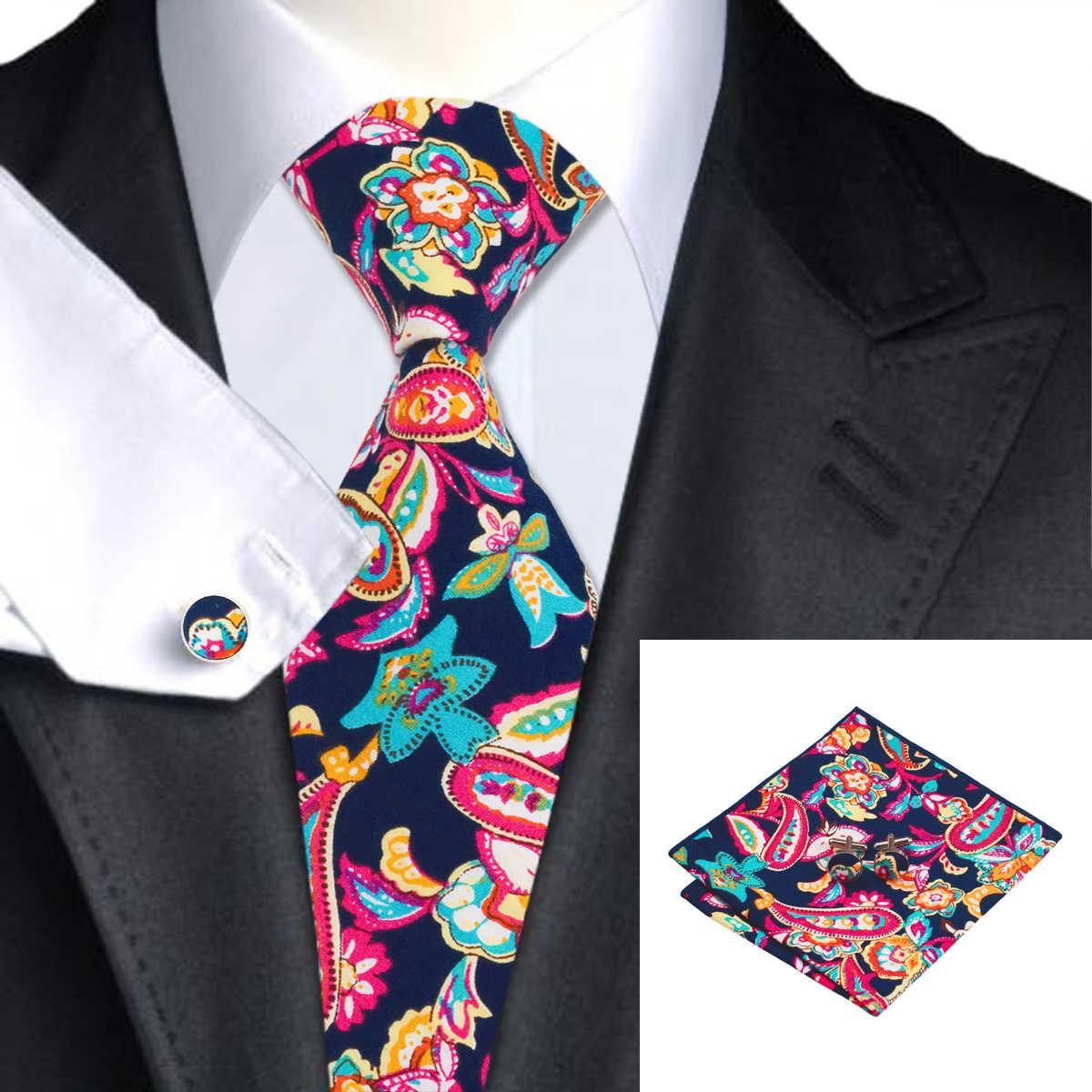 Hi-Tie büyük erkek kravat hanky kol düğmeleri seti kırmızı 100% ipek kravatlar erkekler için lüks çiçek moda tasarımcısı iş düğün kravat
