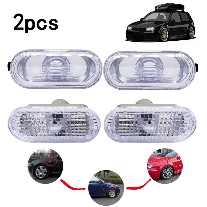 1 Pair Fender LED Side Marker Lights Turn Signal Lamps Car Accessories Light For VW MK4 Golf/Jetta Bora Passat Clear Lens(China)