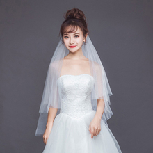 SERMENT Wedding Bridal Veil Cut Edge Shoulder Length One-Layer 100cm Lace Long Accessories