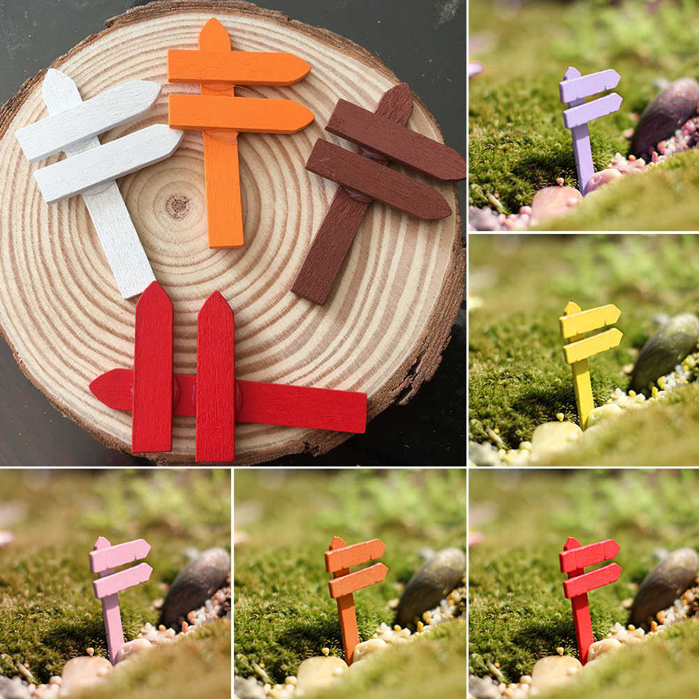 Mini Wood Fence Signpost Miniature Fairy Garden Home Houses Decoration Craft Micro Landscaping Decor Ornaments DIY Accessories