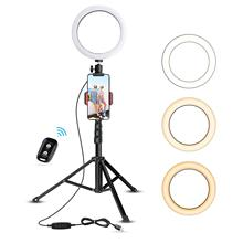 8-inch self-timer ring lamp with tripod and mobile phone holder for field/makeup, UBeesize mini LED camera ring lamp self remote phone holder professional upgrade 43 inch camera photo tripod for samsung s8 a5 j note for huawei for fishing lamp