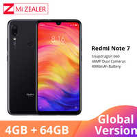 "Global Version Xiaomi Redmi Note 7 4GB 64GB Mobile Phone Snapdragon 660 Octa Core 4000mAh 48MP 5MP Dual Cameras 6.3"" Full Screen"