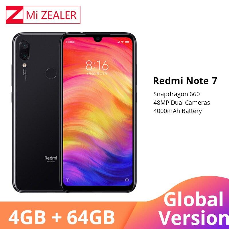 Versão global xiaomi redmi nota 7 4 gb 64 gb celular snapdragon 660 octa núcleo 4000 mah 48mp 5mp câmeras duplas 6.3