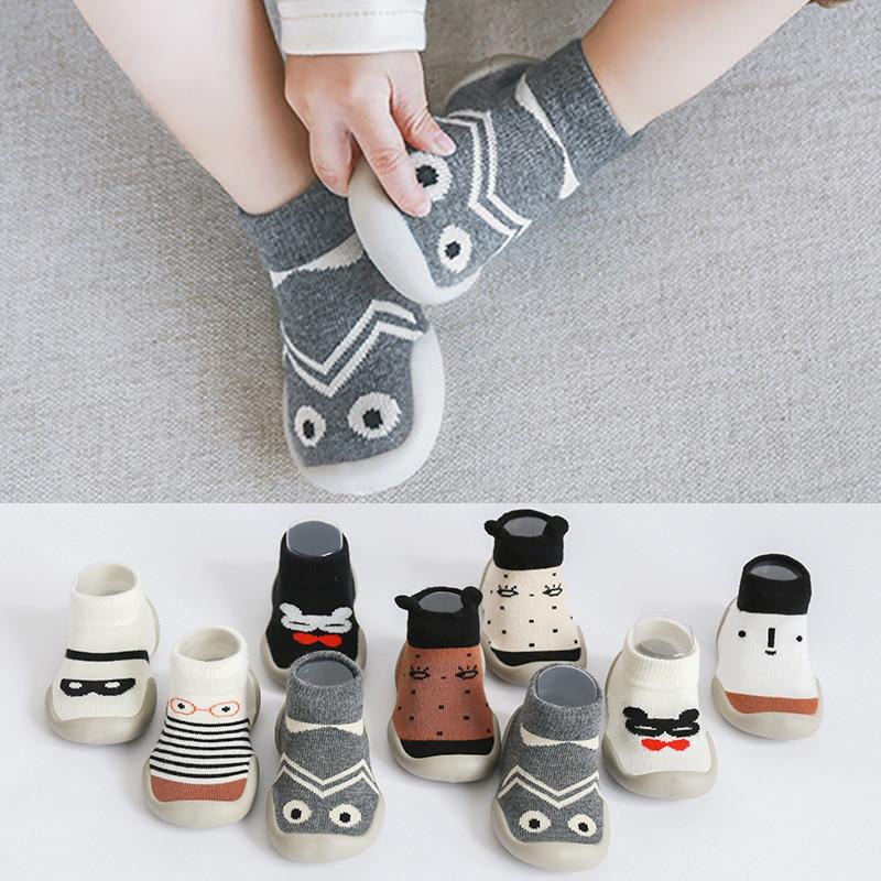 Children Anti-slip Shoes Newborn Baby Girl Cotton Non-slip Floor Socks Baby Boy Rubber Sole Cartoon Indoor Socks Shoes
