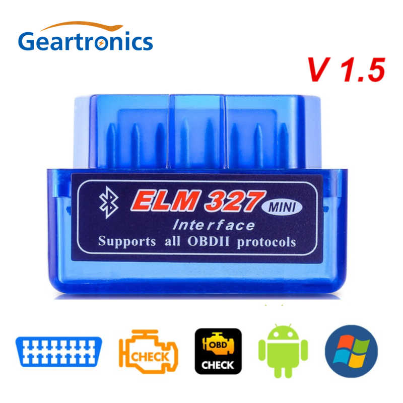 Super Mini OBD2 V1.5 Elm327 Bluetooth V 1.5 OBD 2 Elm 327 Mobil Diagnostik Alat Scanner Elm-327 adaptor OBDII Auto Alat Diagnostik
