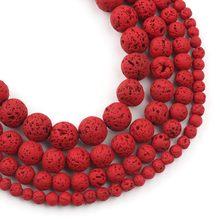 Perles rondes en pierre volcanique hématite naturelle, pierre rouge chaude, perle d'espacement ample pour la fabrication de bijoux 4 6 8 10mm bricolage Bracelet à breloques