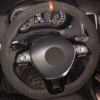 Black Suede Car Steering Wheel Cover for Volkswagen VW Golf 7 Mk7 New Polo Jetta Passat B8 Tiguan 2017 Sharan 2016 2017