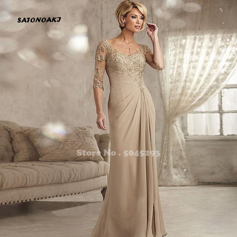 Beaded Lace Champagne Mother Of The Bride Dresses Plus Size 2019 Chiffon Half Sleeves Groom Godmother Evening Dress For Wedding