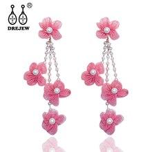 DREJEW Pink White Flowers With Rhinestone Pearl Statement Earrings Tassel Crystal Drop for Women Wedding Jewelry HE3801