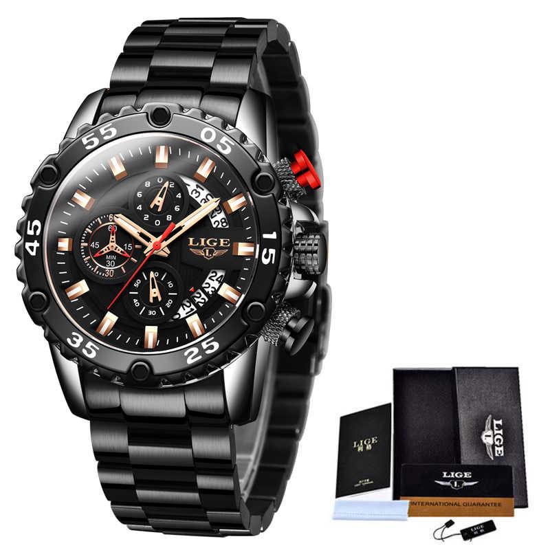 ¡Moda 2020! Relojes para hombre, reloj de lujo de marca LIGE, reloj de acero inoxidable resistente al agua con esfera grande, reloj deportivo de cuarzo con cronógrafo y caja