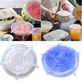6 шт., Эластичные крышки для пищевых продуктов, сохраняющие свежесть, многоразовые силиконовые крышки, Эластичные крышки для кухонной посуд...